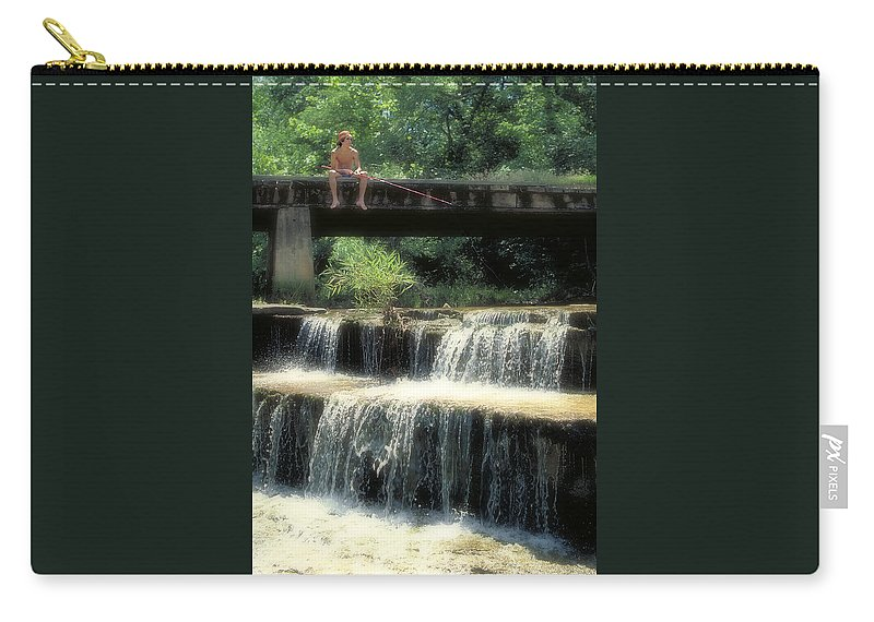 Waterfall Carry-all Pouch featuring the photograph Fishing For Sunnies by Garry McMichael