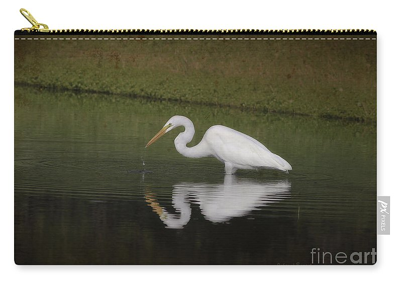Egret Carry-all Pouch featuring the photograph Fishing In The Morning by Deborah Benoit
