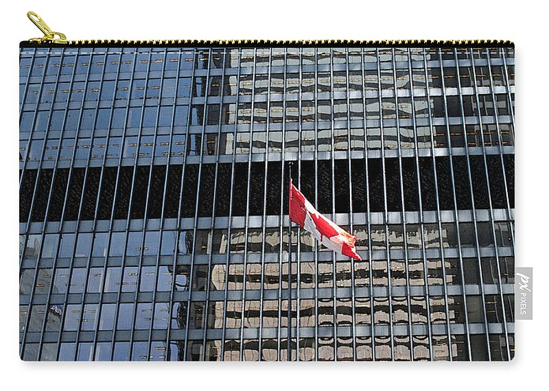Canadian Flag Carry-all Pouch featuring the photograph Flag In The City by Ian MacDonald