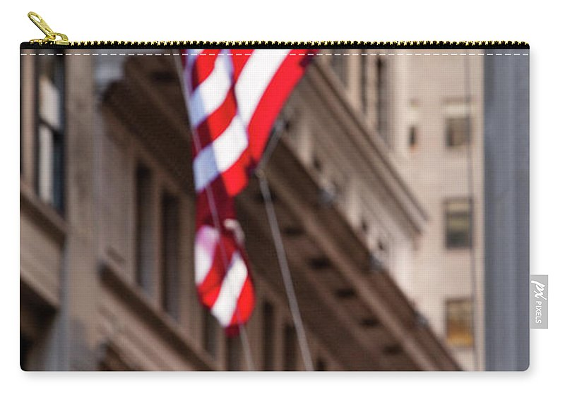Broadway Carry-all Pouch featuring the photograph Flag On Broadway by Brian Jannsen