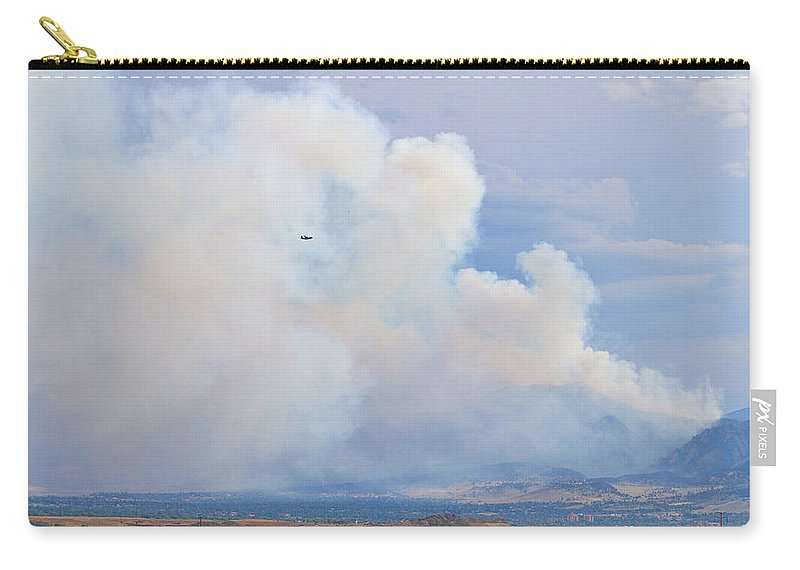 flagstaff Fire Carry-all Pouch featuring the photograph Flagstaff Fire Day One 6pm by James BO Insogna