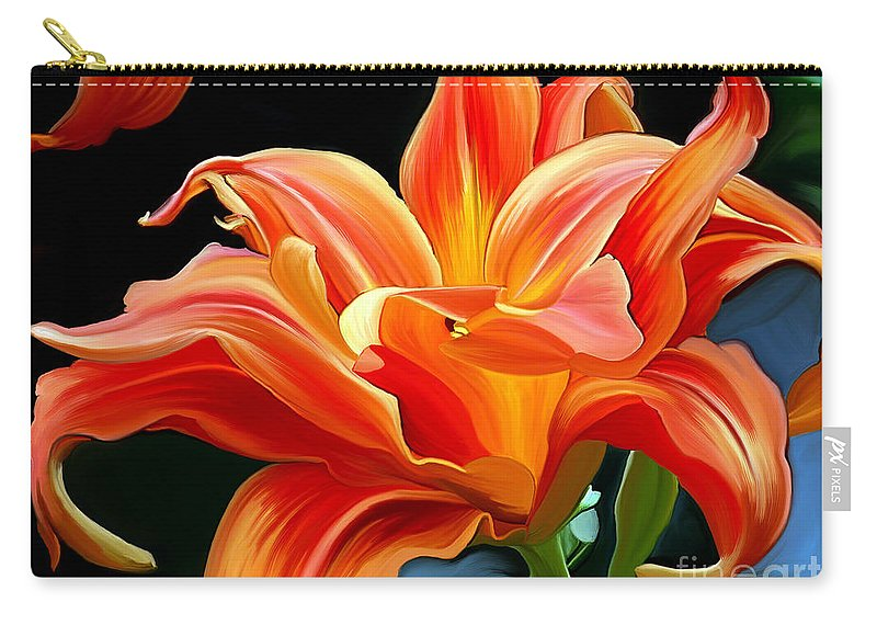 Flower Painting Carry-all Pouch featuring the painting Flaming Flower by Patricia Griffin Brett