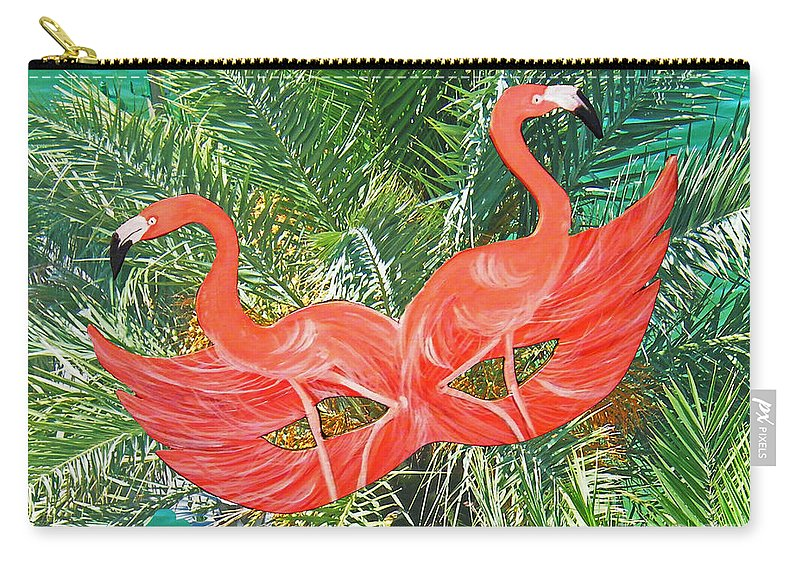 Flamingos Carry-all Pouch featuring the photograph Flamingo Mask 4 by Lizi Beard-Ward