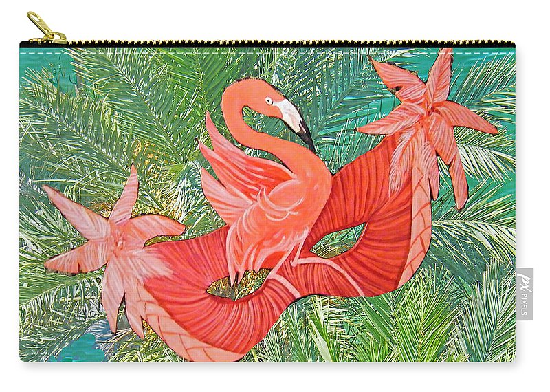 Flamingo Carry-all Pouch featuring the mixed media Flamingo Mask 8 by Lizi Beard-Ward