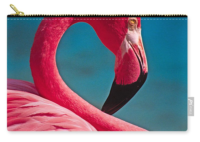 Flamingo Carry-all Pouch featuring the photograph Flexible Flamingo by Michele Burgess