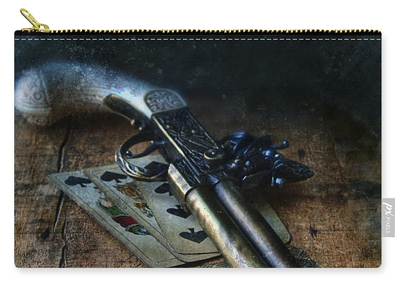 Gun Carry-all Pouch featuring the photograph Flint Lock Pistol And Playing Cards by Jill Battaglia