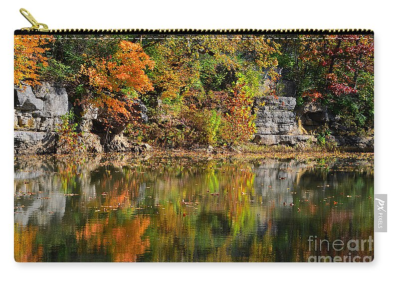 Landscape Autumn Carry-all Pouch featuring the photograph Floating Leaves In Tranquility by Peggy Franz