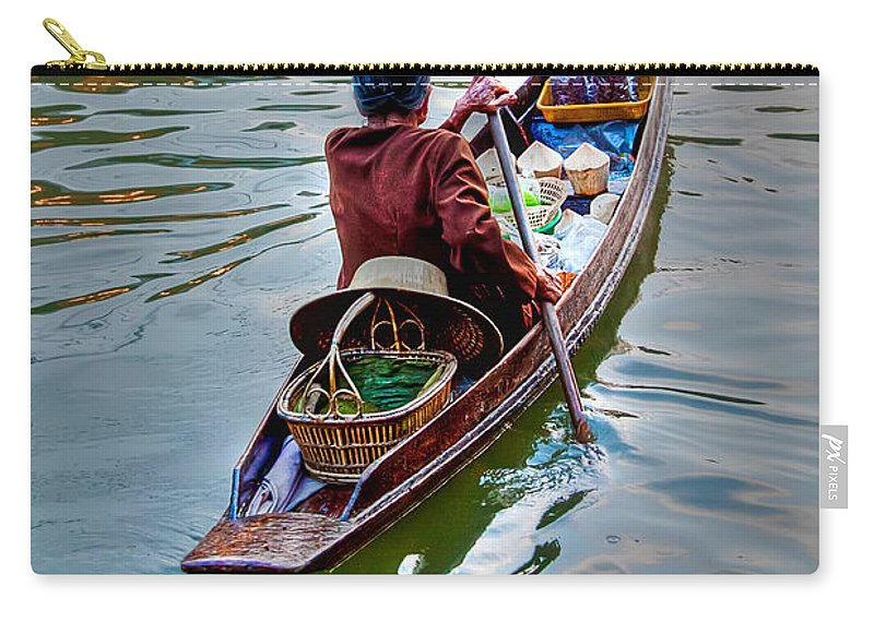 Amphawa Carry-all Pouch featuring the photograph Floating Market by Adrian Evans