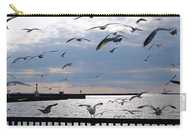 Carry-all Pouch featuring the photograph Flocking Gulls by Michael Frank Jr