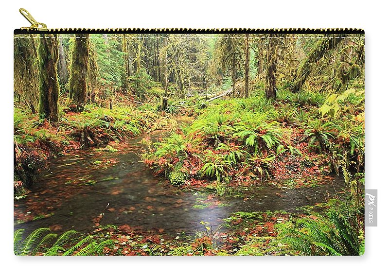 Hoh Rainforest Carry-all Pouch featuring the photograph Flood In The Forest by Adam Jewell