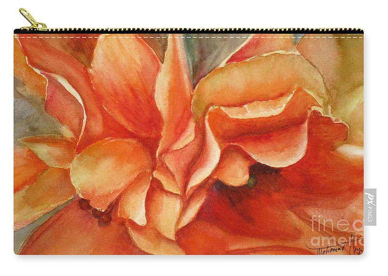 Orange Carry-all Pouch featuring the painting Floral Flash by Mohamed Hirji