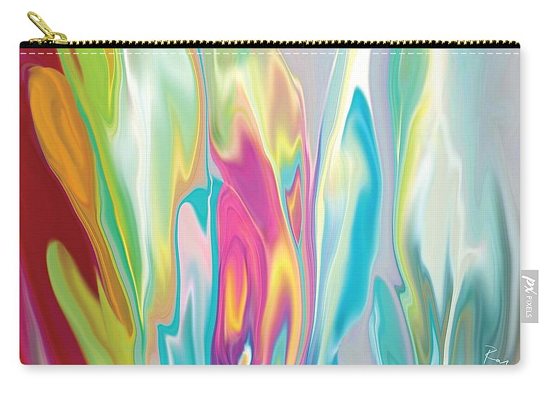 Abstract Carry-all Pouch featuring the digital art Floral Quest by Rabi Khan