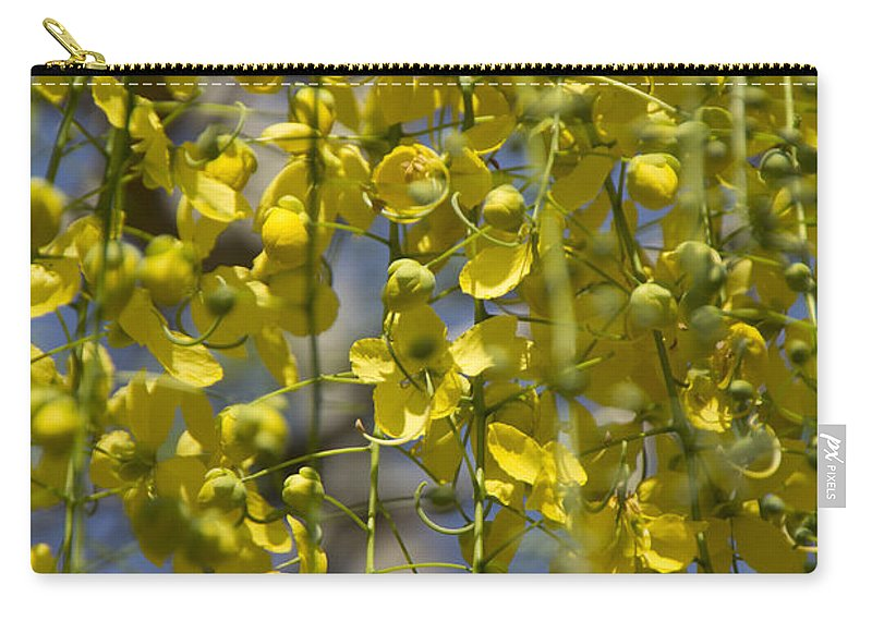 Yellow Carry-all Pouch featuring the photograph Flower Curtain by Douglas Barnard