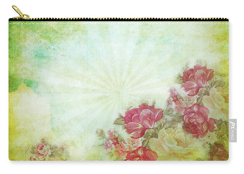 Abstract Carry-all Pouch featuring the photograph Flower Pattern On Paper by Setsiri Silapasuwanchai