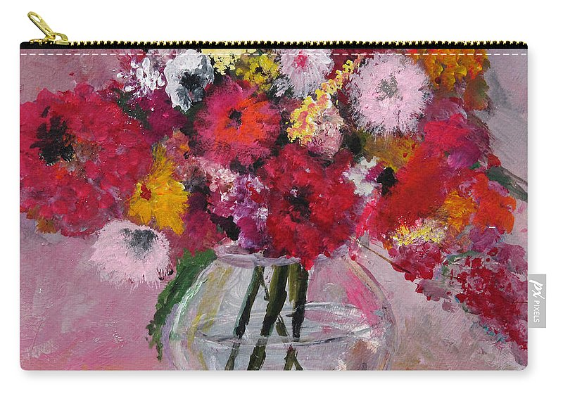 Still Life Carry-all Pouch featuring the painting Flowers In A Glass Vase by Marilyn Woods