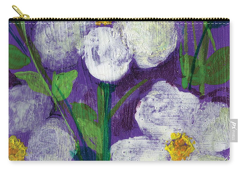 Flowers Carry-all Pouch featuring the painting Flowers In Moonlight by Ashleigh Dyan Bayer