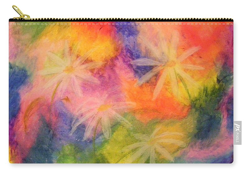 Colors Carry-all Pouch featuring the drawing Flowers On Color by Cynthia Campbell
