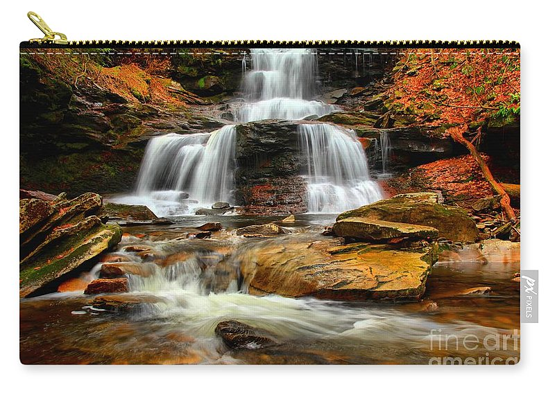 Ricketts Glen Carry-all Pouch featuring the photograph Flowing Down The Mountain by Adam Jewell