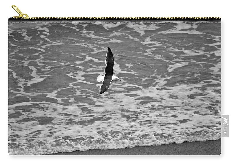 Seagull Carry-all Pouch featuring the photograph Fly By by Eric Tressler