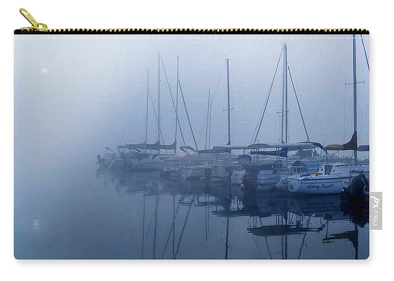 Fog Hides Sun From Sailboats Carry-all Pouch featuring the photograph Fog Hides Sun From Sailboats by Randall Branham