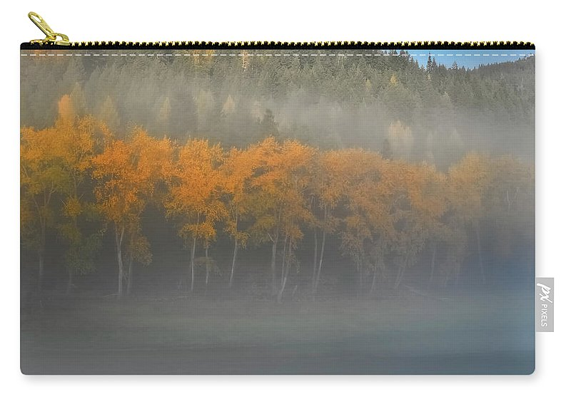 Autumn Color Carry-all Pouch featuring the photograph Foggy Autumn Morning by Albert Seger