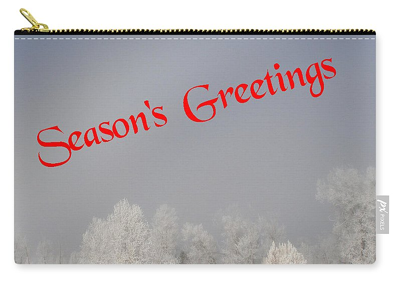 Christmas Cards Carry-all Pouch featuring the photograph Foggy Seasons Greeting by DeeLon Merritt