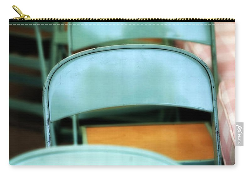 Folding Carry-all Pouch featuring the photograph Turquoise and Wood Folding Chairs by Marilyn Hunt