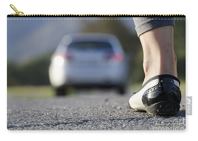 Woman Carry-all Pouch featuring the photograph Foot And Car by Mats Silvan