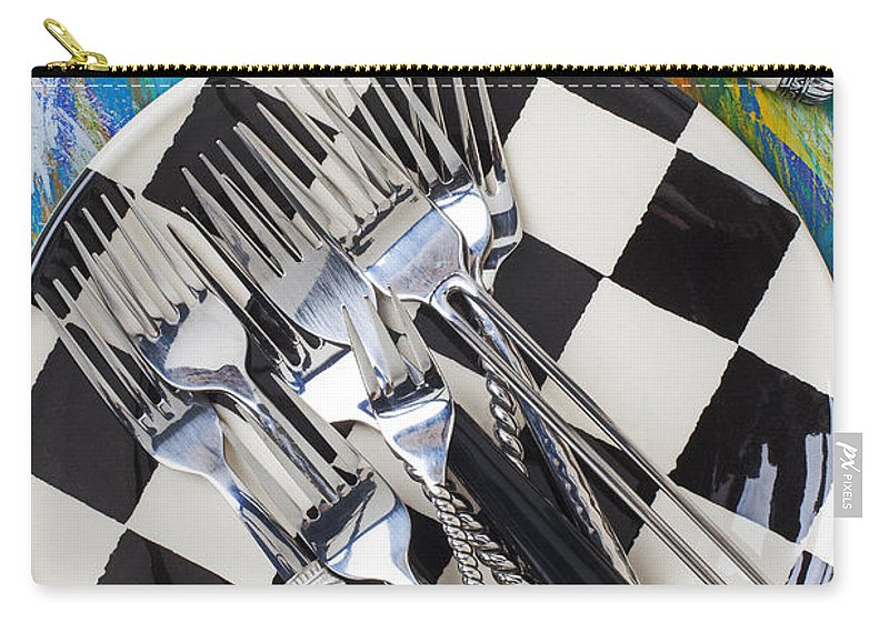 Forks Carry-all Pouch featuring the photograph Forks On Checker Plate by Garry Gay