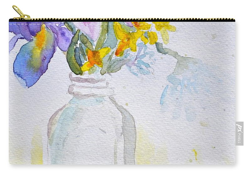 Forsythia Carry-all Pouch featuring the painting Forsythia And Ghost Daisies by Beverley Harper Tinsley