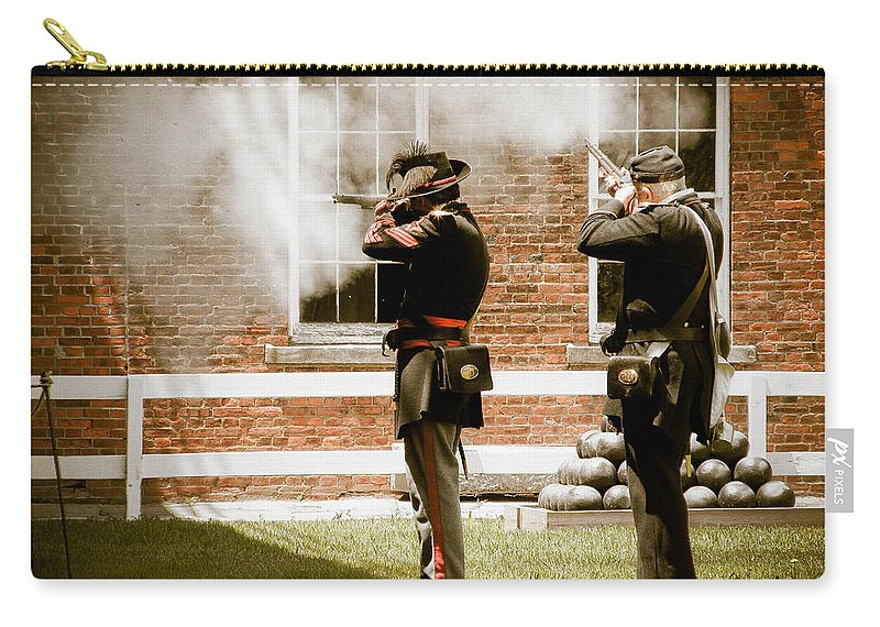 Fort Delaware Carry-all Pouch featuring the photograph Fort Delaware Military by Trish Tritz