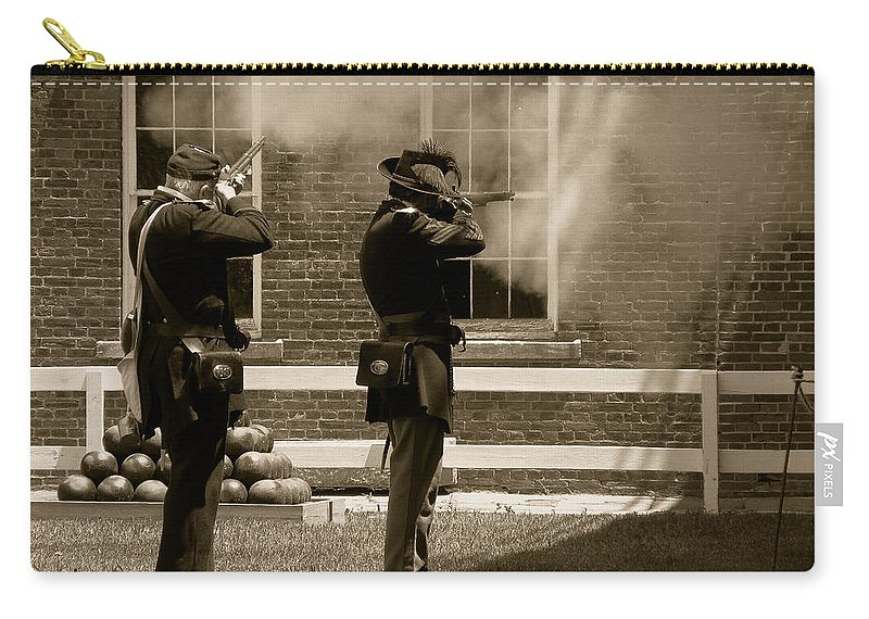 Soldiers Carry-all Pouch featuring the photograph Fort Delaware Soldiers by Trish Tritz