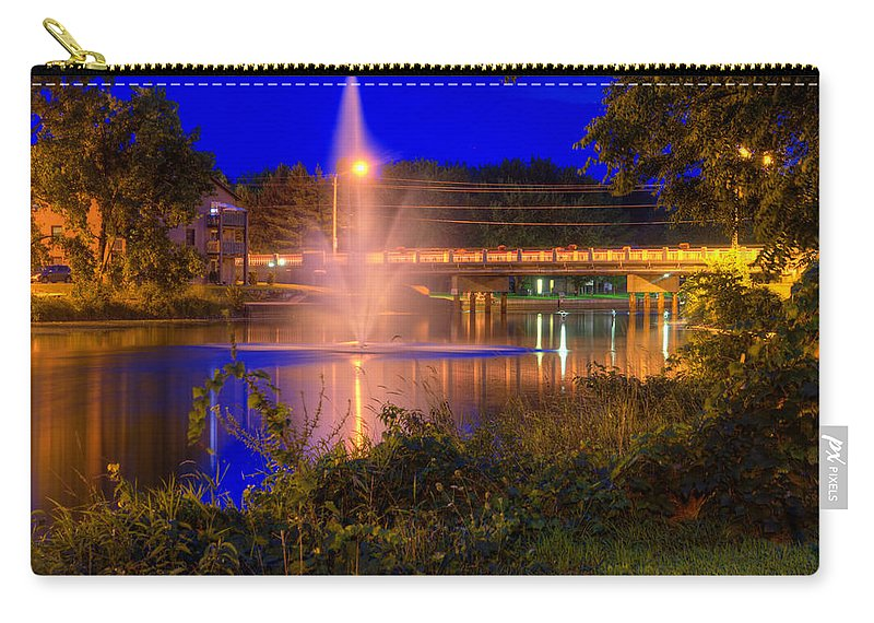 Acrylic Prints; Aluminum Prints; Canvas Prints; Digital; Digital Art; Framed Prints; Greeting Cards; John Herzog; Metal Prints; Photo; Photograph; Photography; Posters; Prints; Xdop; Canada; Napanee; Ontario; Night; Night Time; Night_time; Night-time; Outdoor; Outdoors; Outside; color Carry-all Pouch featuring the photograph Fountain And Bridge At Night by John Herzog