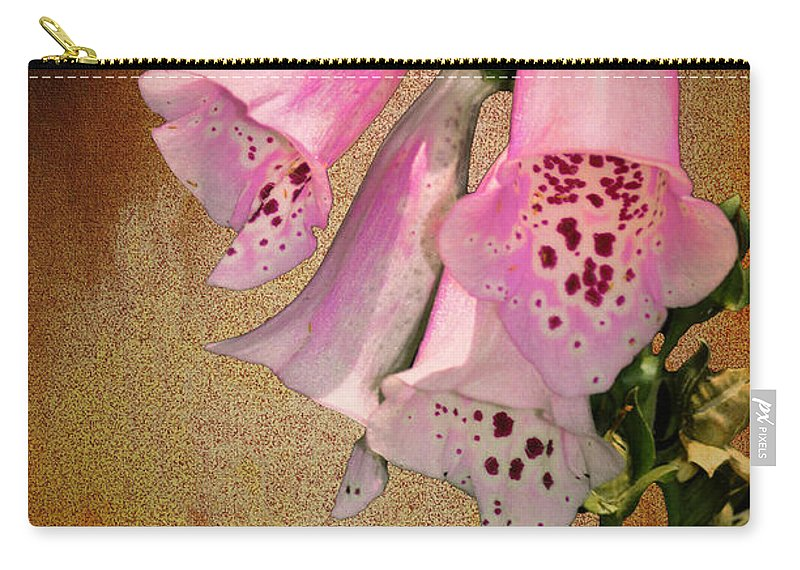 Fox Glove Grunge Carry-all Pouch featuring the photograph Fox Glove Grunge by Bill Cannon