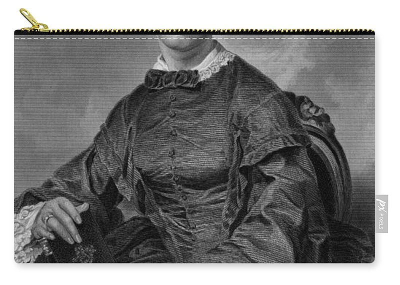 1873 Carry-all Pouch featuring the photograph Frances Sargent Osgood (1811-1850). American Poet. Engraving From A Painting By Alonzo Chappel, C1873 by Granger