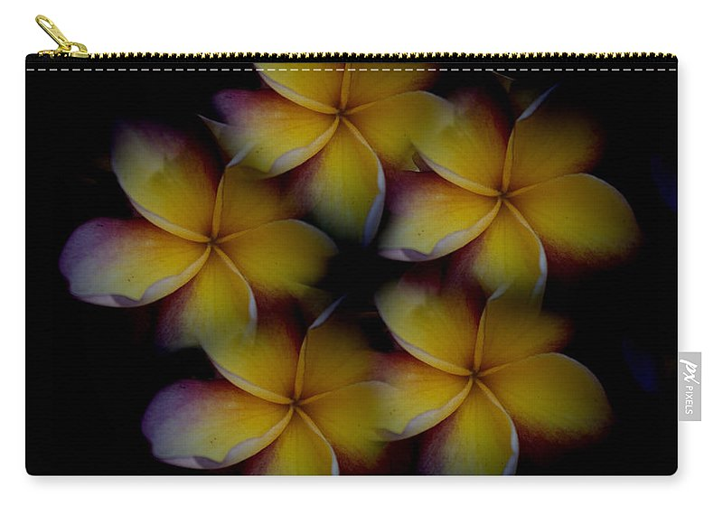 Frangipani Carry-all Pouch featuring the photograph Frangipani Circle Of Color by Douglas Barnard