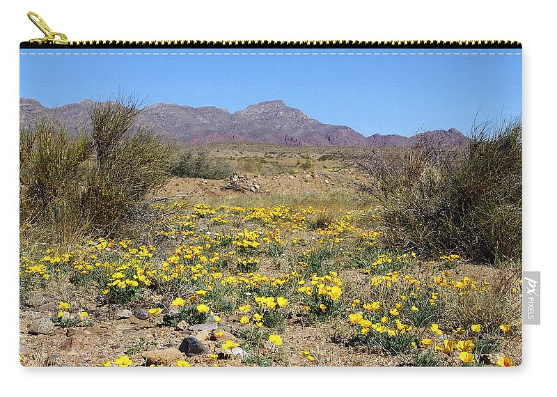 Poppie Carry-all Pouch featuring the photograph Franklin Mt. Poppies by Kurt Van Wagner