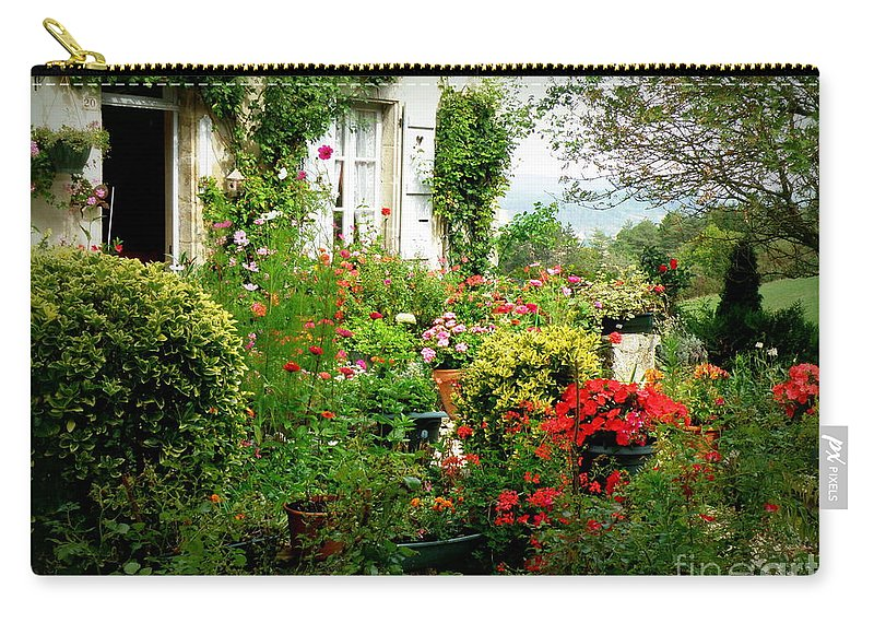 Garden Carry-all Pouch featuring the photograph French Cottage Garden by Lainie Wrightson