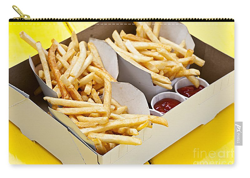 Fries Carry-all Pouch featuring the photograph French Fries In Box by Elena Elisseeva