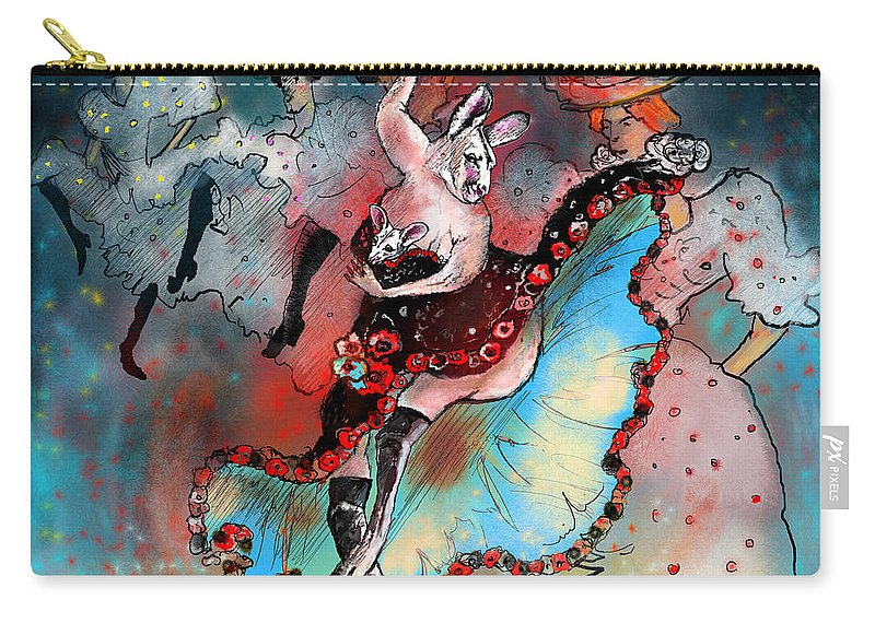 Kangaroo Carry-all Pouch featuring the painting French Kankan by Miki De Goodaboom