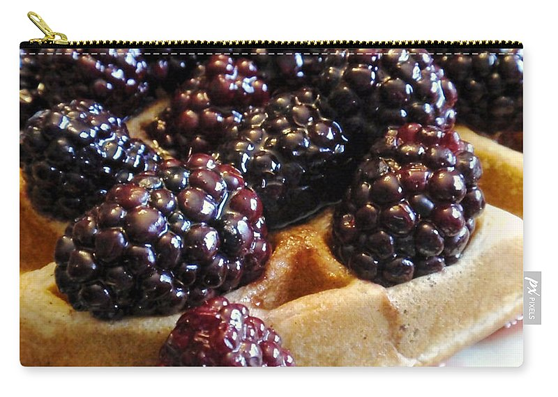 Blackberries Carry-all Pouch featuring the photograph Fresh Blackberry Waffles by Kathy Clark