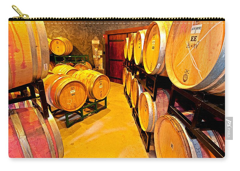 fresh Tracks Barrel Room Carry-all Pouch featuring the photograph Fresh Tracks Barrel Room by Paul Mangold