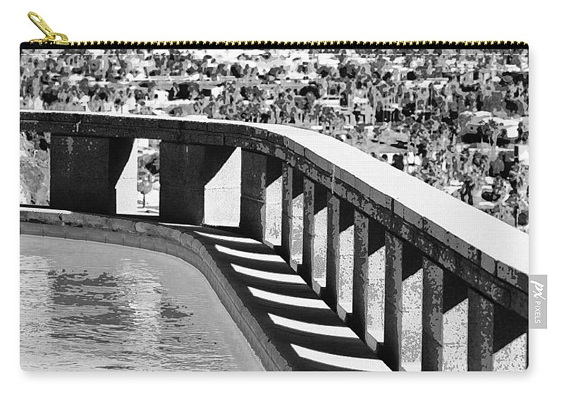 Frey Carry-all Pouch featuring the photograph Frey Pool Bw Palm Springs by William Dey