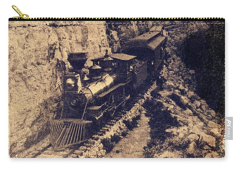 Old Steam Train Carry-all Pouch featuring the photograph Frisco Steam Train by Garry McMichael