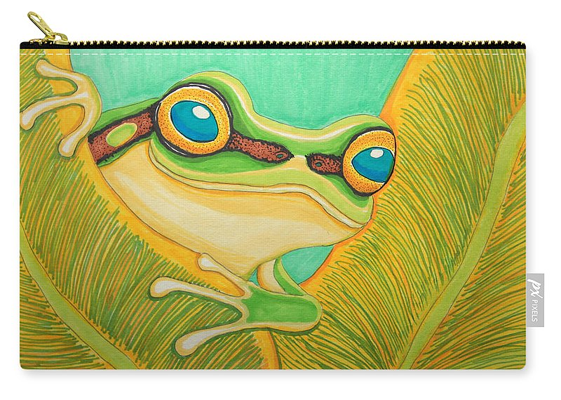 Frog Carry-all Pouch featuring the drawing Frog Peeking Out by Nick Gustafson