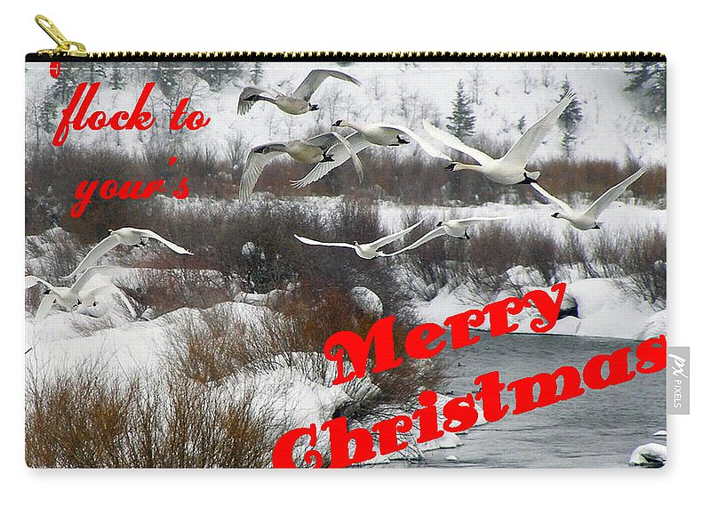 Christmas Cards Carry-all Pouch featuring the photograph From Our Flock To Yours by DeeLon Merritt
