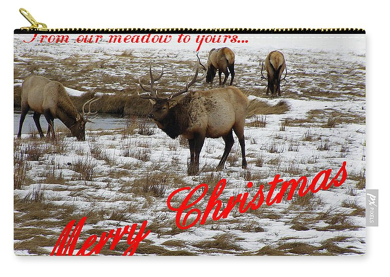 Christmas Cards Carry-all Pouch featuring the photograph From Our Meadow To Yours by DeeLon Merritt