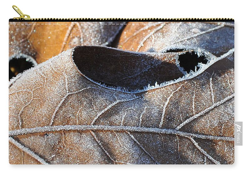 Leaves Carry-all Pouch featuring the photograph Frost On Oak Leaf by Christine Stonebridge
