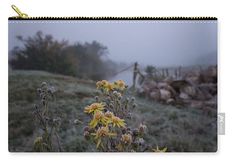Frost Carry-all Pouch featuring the photograph Frosted Flowers by Dawn OConnor