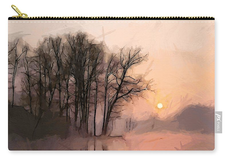 Lake Water Morning Sun Sunrise Early Quiet Silence Tree Trees Nature Landscape Carry-all Pouch featuring the painting Frosty Morning At The Lake by Steve K